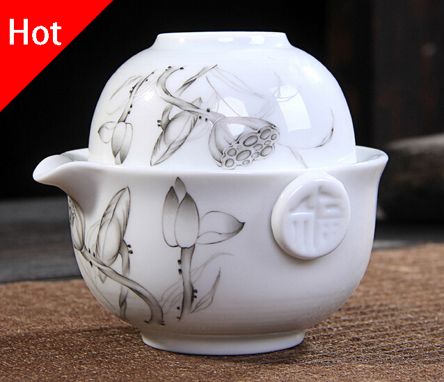 Kung Fu Tea set Include 1 Pot 1 Cup High quality elegant gaiwan Beautiful and easy