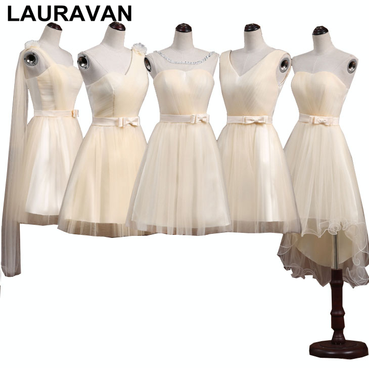 special occasion champagne plus size maid simple bridal sister of the bride women ladies   bridesmaid     dress   short lenght girls