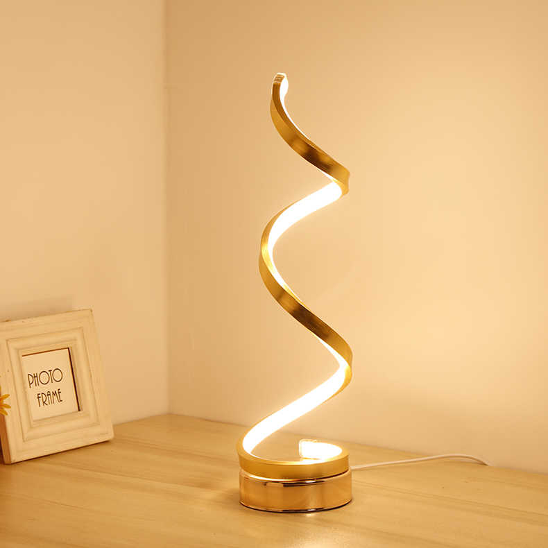 Creative Design Spiral Modern Table Light Acrylic Lamps For Bedroom Beside Lamp Home Decor Lighting Fixture