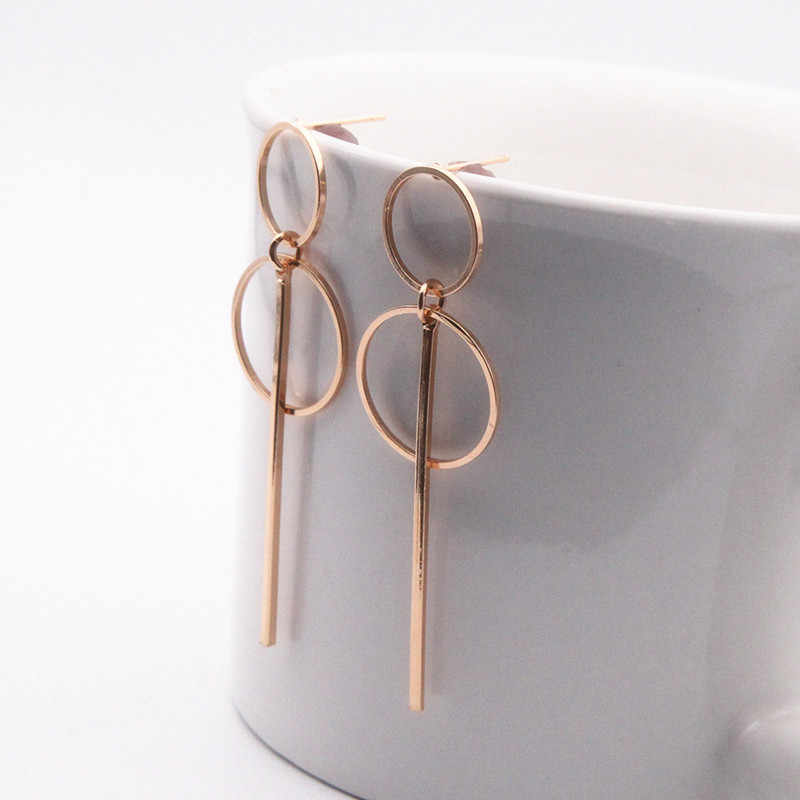 2018 new Fashion Earrings Punk Simple Gold/ Silver / Long Section Tassel Pendant Size Circle Earrings For Ladies Gifts Wholesale
