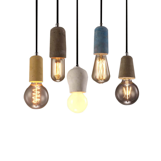 Post Modern Hanging Cement Pendant Lamp Contemporary Concret Lights Lighting Fixture Novelty Holder Socket