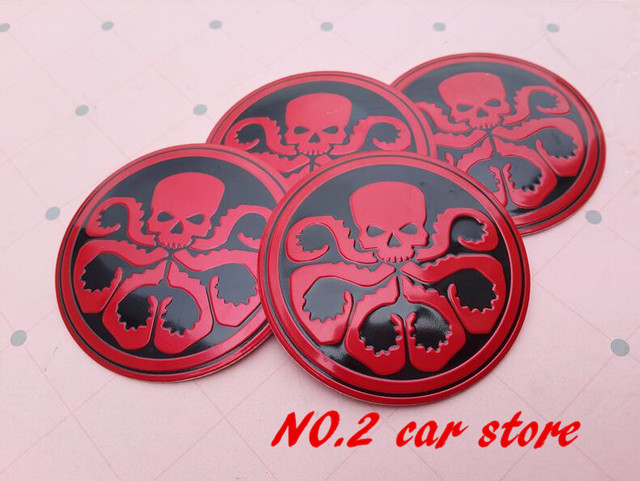 4pcs free shipping 56 5mm hydra squidward octopus skull car wheel center hub cap resin badge
