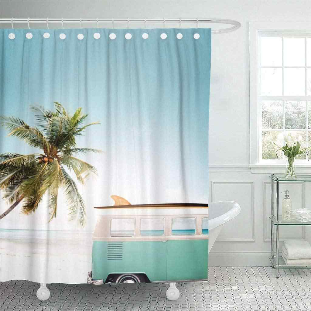 Waterproof Shower Curtains Blue Surf Vintage Car Parked on the Tropical Beach Seaside with Surfboard Roof Van Extra Long