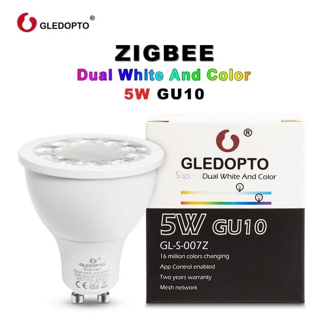 GLEDOPTO RGBCCT WW/CW GU10 ZIGBEE ZLL 5 W RGB + כפולה לבן LED זרקור AC100-240V לעבוד עם אמזון alexa רבים gateway app בקרה