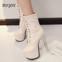 BYQDY Fashion Motorcycle Women Boots Ankle Super High Thin Heel Platform Zip Round Toe Handmade Business Shoes Dropshipping