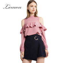 Lemon New Fashion Ruffle Cold Shoulder Women Blouse Shirt Pink Casual Slim Frill Chic Blusas Sexy Sweet Preppy Basic Blouse