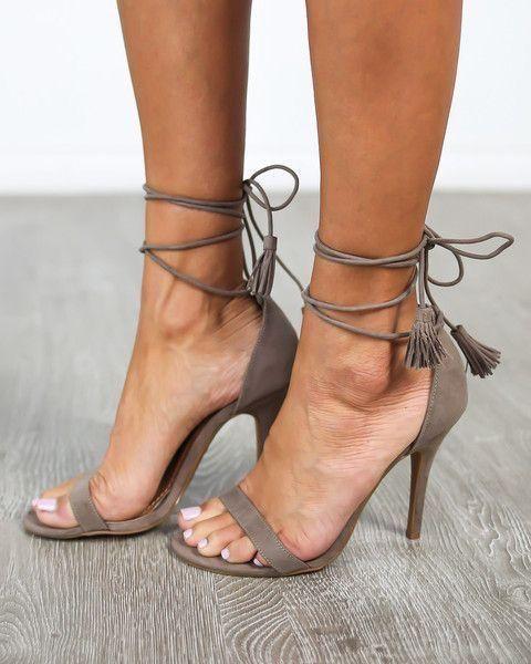 Chic Chaussures Lace Stiletto Cuir Delicatetassel Bandoulière Femmes Robe Beige Fringe ardoisé Talon Sandales Beige Pu Up Ouvert Bout ZqZBr