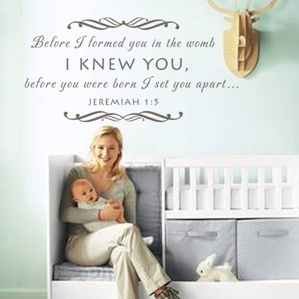 Baby Nursery Wall Decal Before I Formed You In The Womb Scripture