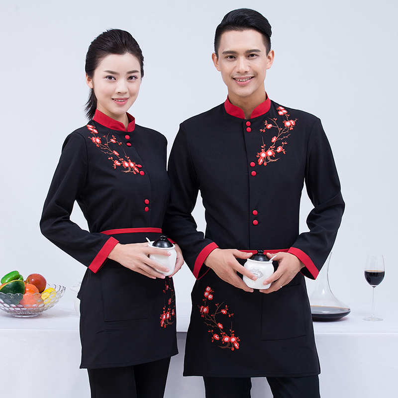 Long Sleeve Working Clothes 2018 Spring/Fall Hotel Flower Print Shirt+Apron Set Coffee Shop Waiter Uniform Coat Cheap Restaurant