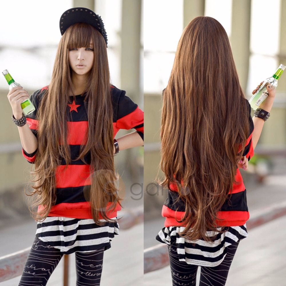 80cm New Light Brown Wig Harajuku Long Curly Wig Hair