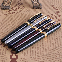 Promotion Wholesale 5Pcs/set Baoer 388 Luxury Gold Clip Fountain Pen Mix Colors 0.5mm Nib Metal Ink Pens Set for Christmas Gift baoer 3035 stainless medium nib 0 5mm fountain pens