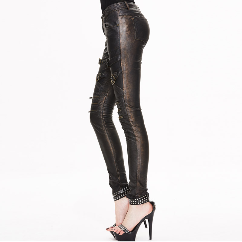 Steampunk Winter Womens Gothic PU Leather Pants