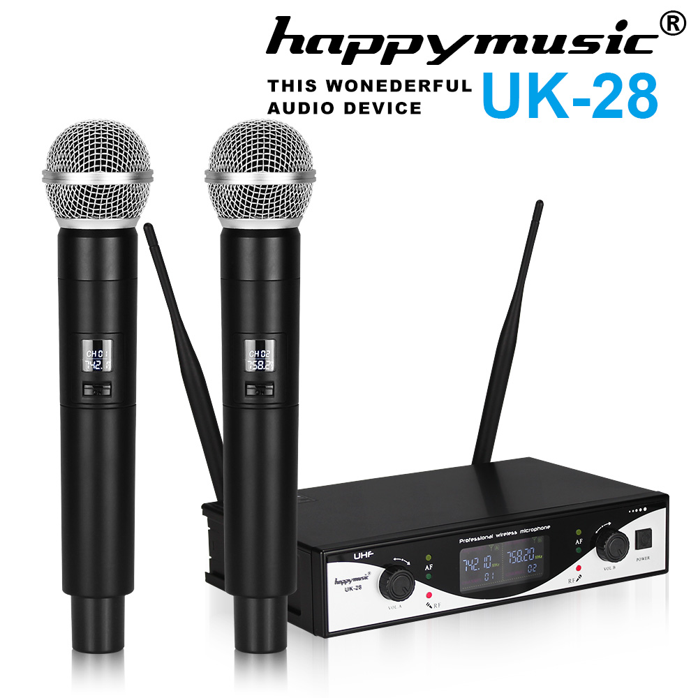 Hot Sale! UHF Wireless Microphone System Dynamic 2 Channel 2 Handheld Karaoke Cardioid Microphone Professional free shipping professional uhf bx288 p 58 karaoke wireless microphone system with dual handheld microphone cardioid transmitter