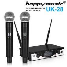 Vendita calda! UHF Microfono Senza Fili Sistema Dinamico di 2 Canali 2 Palmare Karaoke Microfono Cardioide Professionale