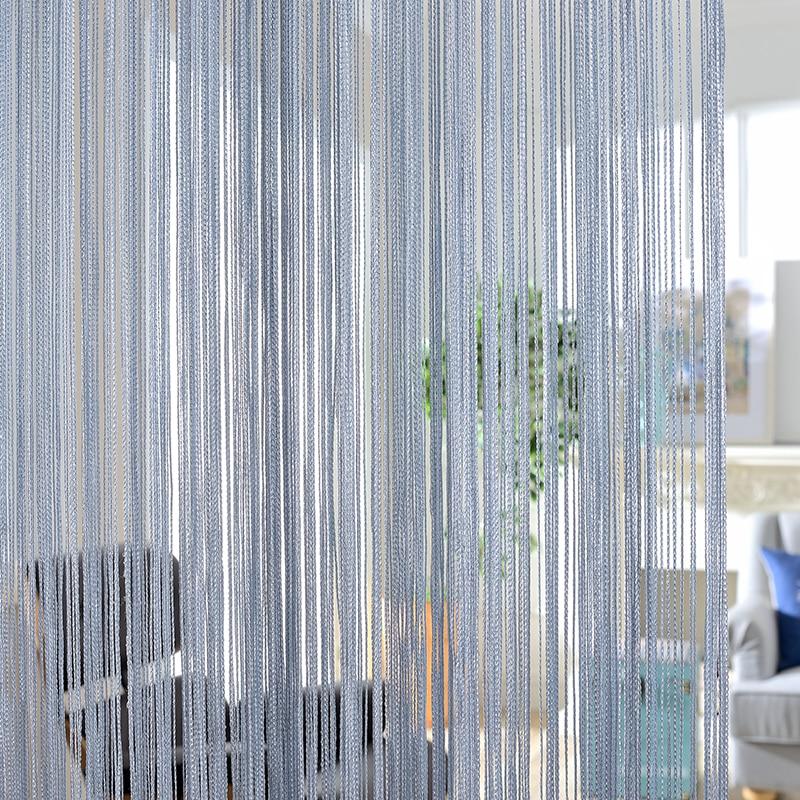 260x300 cm cortinas de color sólido rayas blanco gris línea clásica cortina ventana persiana Sala divisor puerta decorativa