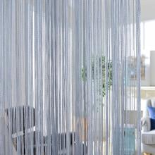 300x260cm cortinas de color sólido rayas blanco gris cortina de hilo clásico ventana persiana habitación divisor puerta decorativa