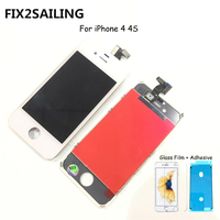 FIX2SAILING 100% Grade AAA LCD Display With Touch Screen Digitizer Assembly Replacement For Apple iPhone 4 +Glass Film +Adhesive