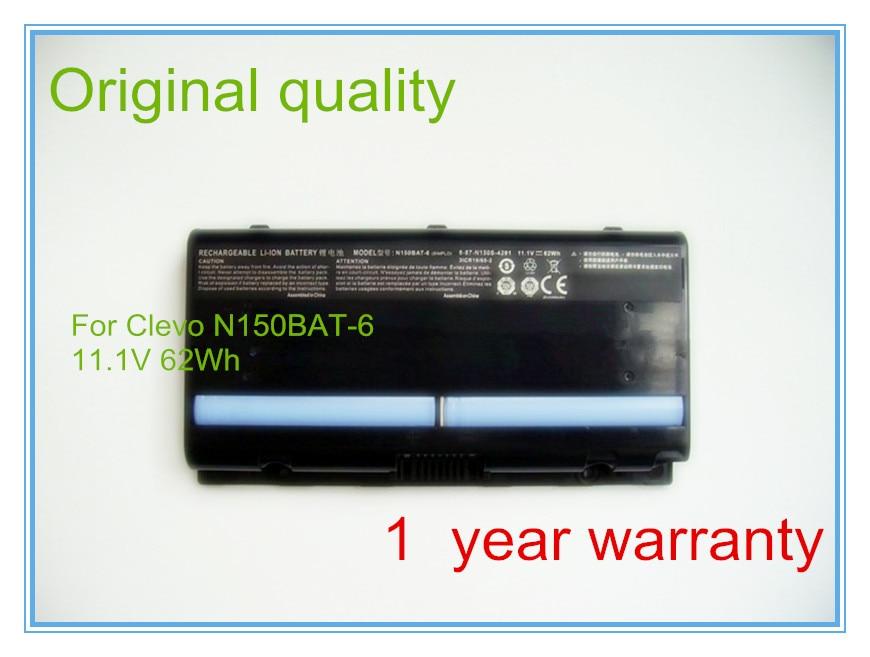 Original battery for N150BAT-6 6-87-N150S-4U91 N150SD Laptop Battery(Li-ion 11.1V 62WH) origianl clevo 6 87 n350s 4d7 6 87 n350s 4d8 n350bat 6 n350bat 9 laptop battery
