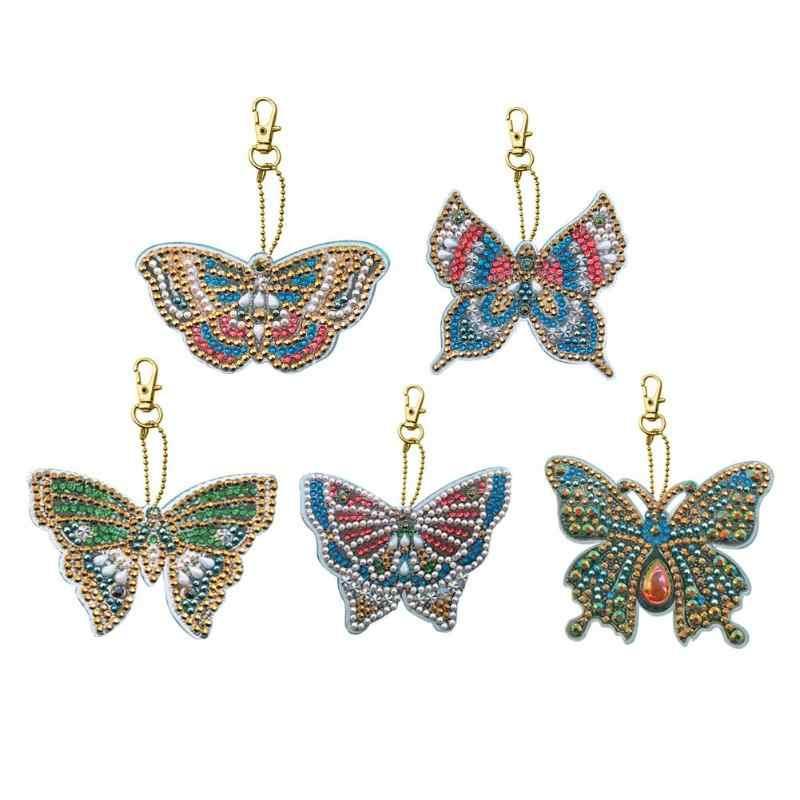 5 pçs/lote DIY Kits de Resina Especial Em Forma de Borboleta Pintura Diamante Broca Completo Keychain Saco Da Menina Das Mulheres Jóias Handmake Presentes
