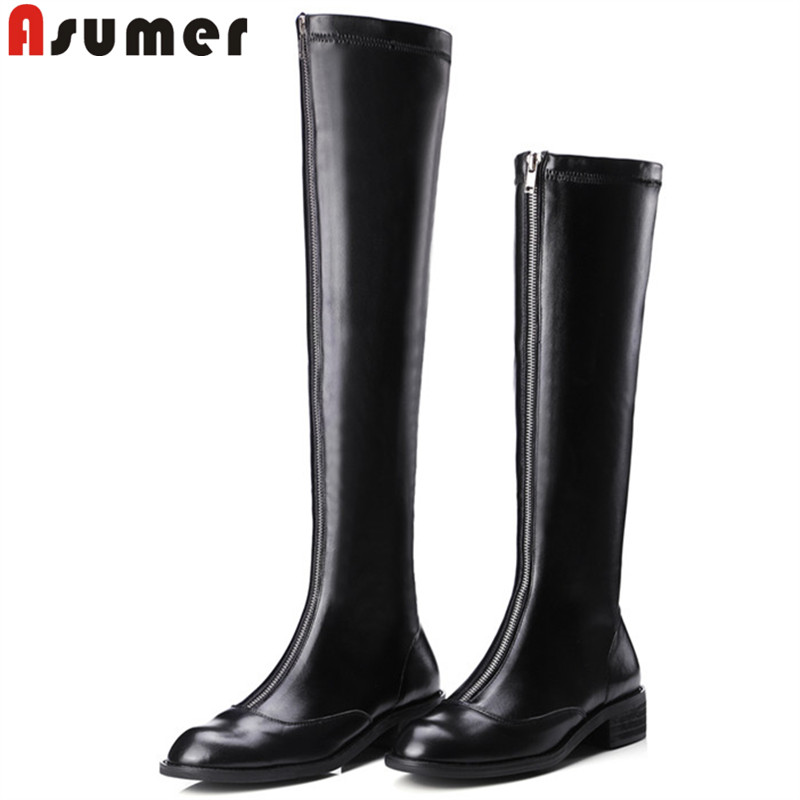 ASUMER 2018 fashion over the knee boots round toe med heels shoes elegant zip pu+cow leather boots square heel women boots