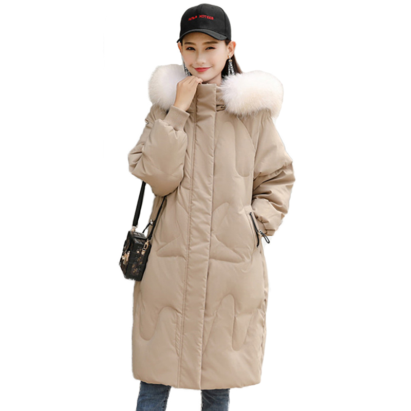 Winter   Down   Jacket Women White duck   down     Coat   Natural Raccoon fur collar Hooded Tops Female Plus size Thick Warm Long   Down     Coats
