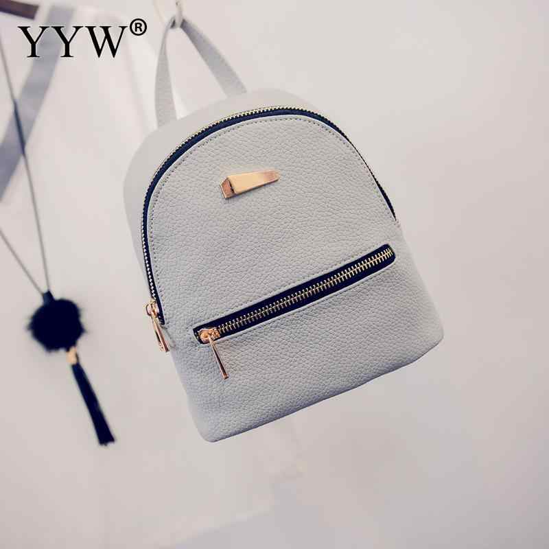bb6faa1a1196 Women Backpack Leather School Bags For Teenager Girls Mini Sackpack Female  Preppy Style Small Backpack Black