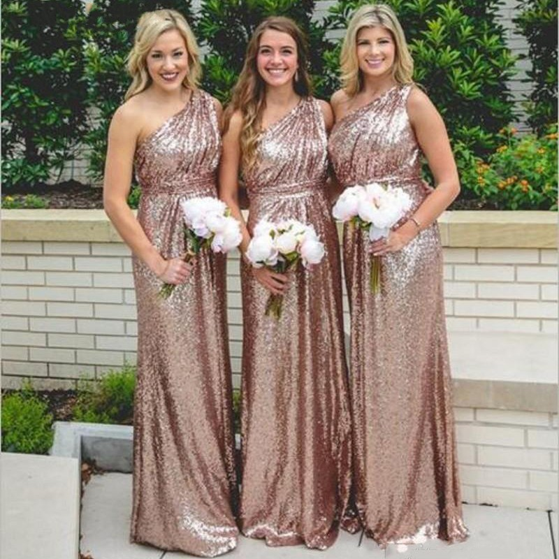 Rose Gold Shining One Shoulder Sequin Pleated A-Line   Bridesmaid   Gowns Cheap Sequined   Bridesmaid     Dresses