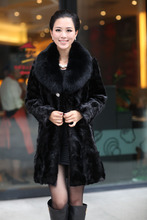 faux Mink fur overcoat Women mink fur coat mink hair large fur collar faux fur coat for women winter