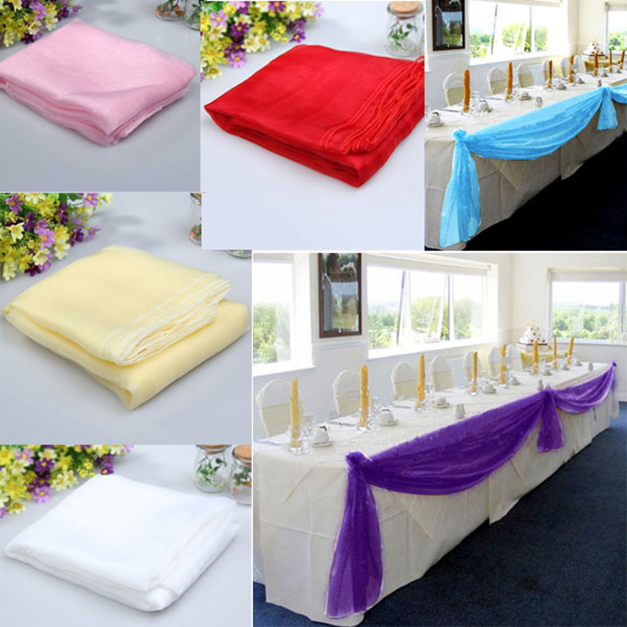 500x140CM Sheer Organza Multi Use Wedding Chair Sash Bow Table Runner DIY Wedding Party Banquet Casamento Swag Decorations