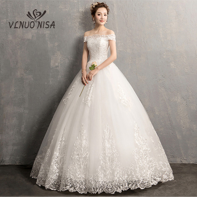 Lengan Pendek Off Bahu Lace Wedding Dress Muslim 2018 Pengantin