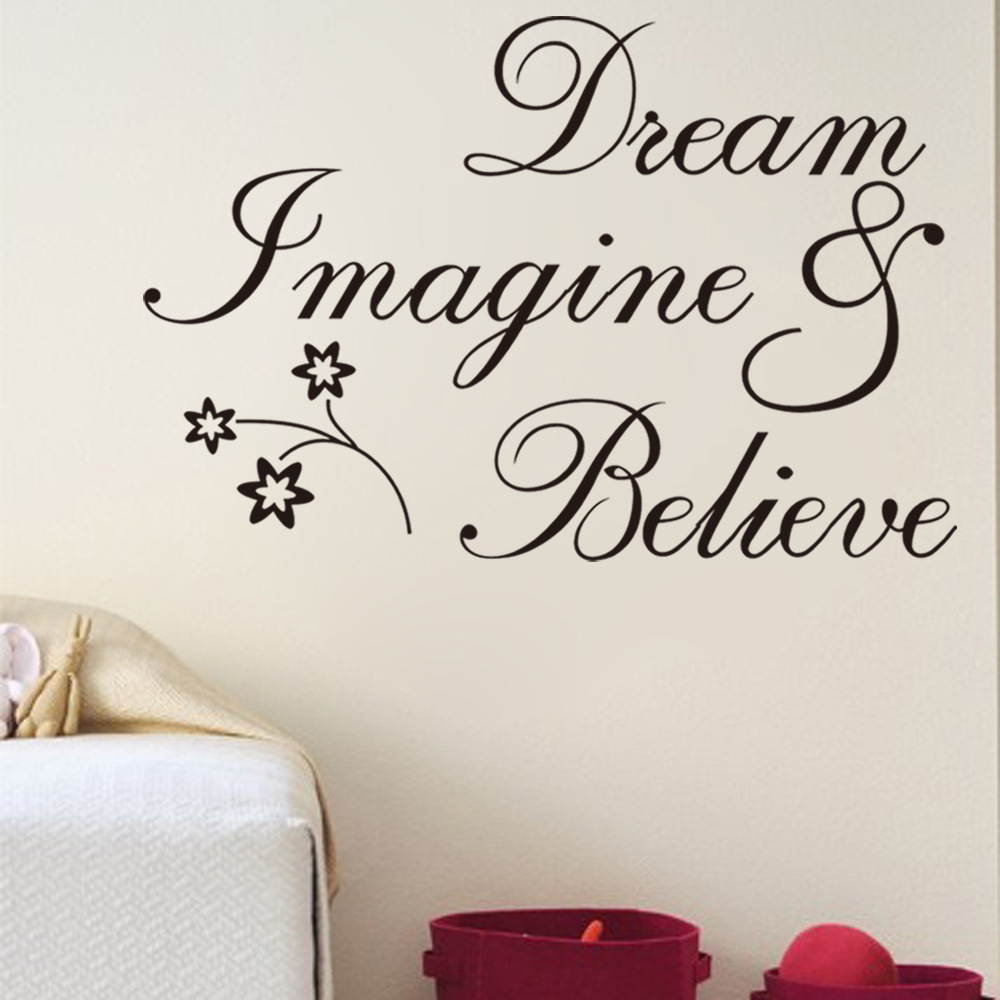 Removable Wall Decor Quotes : Free shipping inspirational words dream believe removable