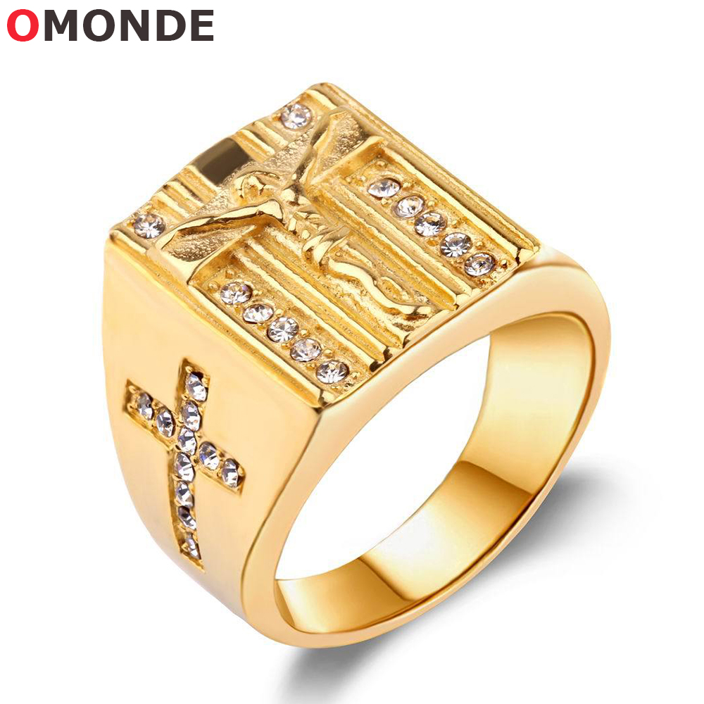 Jesus Cross Ring Men Gold Color Titanium Stainless Steel Male Christian Faith Prayer Crucifix Bless Jewelry with Zircon Stone