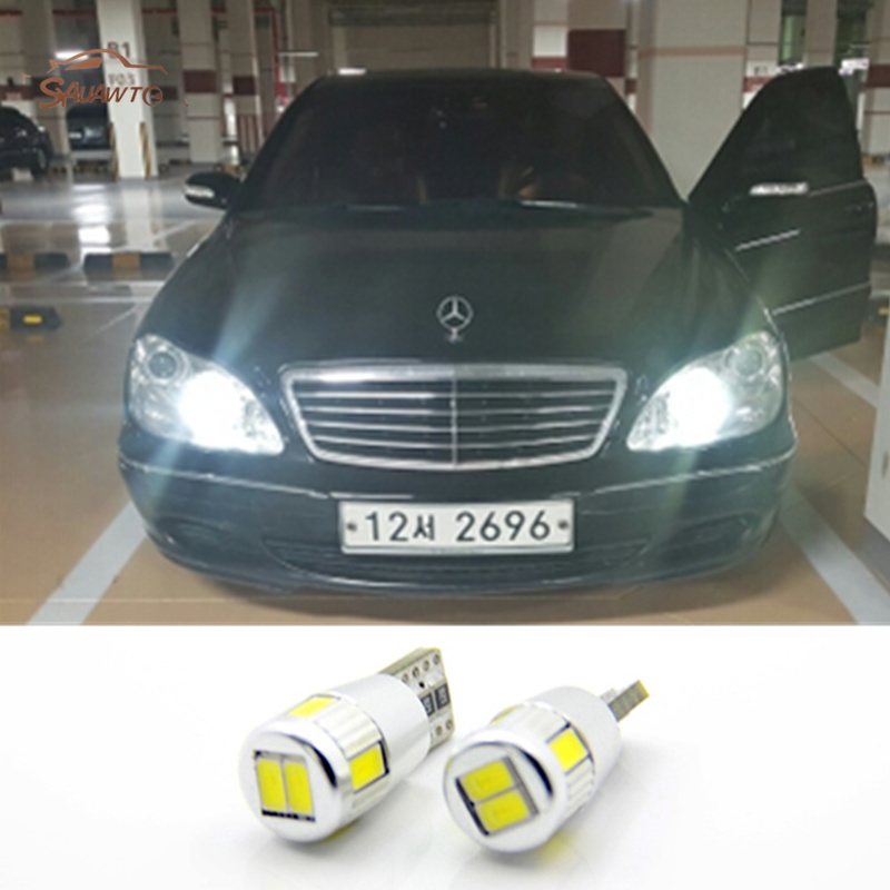 12V T10 194 168 W5W 6 LED Parking Lights Sidelight No Error For Mercedes Benz W202