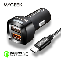 MyGeek Universal Car Charger Qualcomm Quick Charge 3 0 2 Port Support QC3 0 3 USB