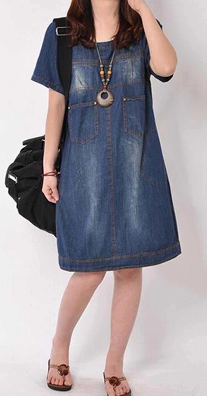 Осень 2018 г. новые летние корейские большие размеры Для женщин длинный участок с длинными рукавами платье из джинсовой ткани Ретро носить белые платье из джинсовой ткани BL48