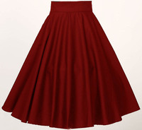 Free Ship Plus Size Retro Skirts Black Red Womens Clothing High Waisted Full Circle Skater Skirt