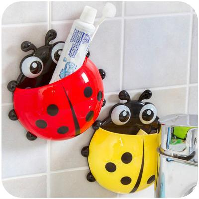 Ladybug Toothbrush Holder Cute Cup Pocket Bathroom Toothbrush Stuff Wall Suction Holder Home Decoration 2017