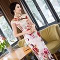 White Chinese Traditional Cheongsam Dress Ladies Silk Rayon Long Cheongsam Summer Dress Floral Size S M L XL XXL QP62