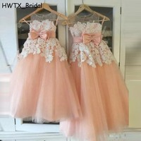 Vestidos Infantis 2018 New Flower Girl Dresses For Weddings A Line Sheer Neck Floor Length Lace Tulle Kids Pageant Gowns Cheap