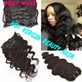 100% Peruvian Virgin 8A Virgin Remy Human Hair Body Wave Clip In Hair Extensions 7PCS/Set 120G Clip Ins Weave