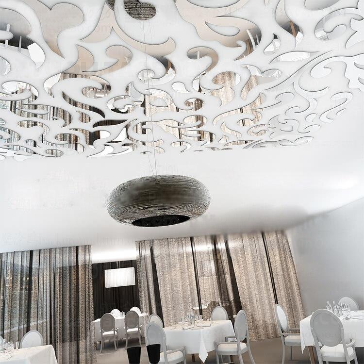 Diy european style ceiling 3d wall stickers acrylic mirror for Acheter decoration maison