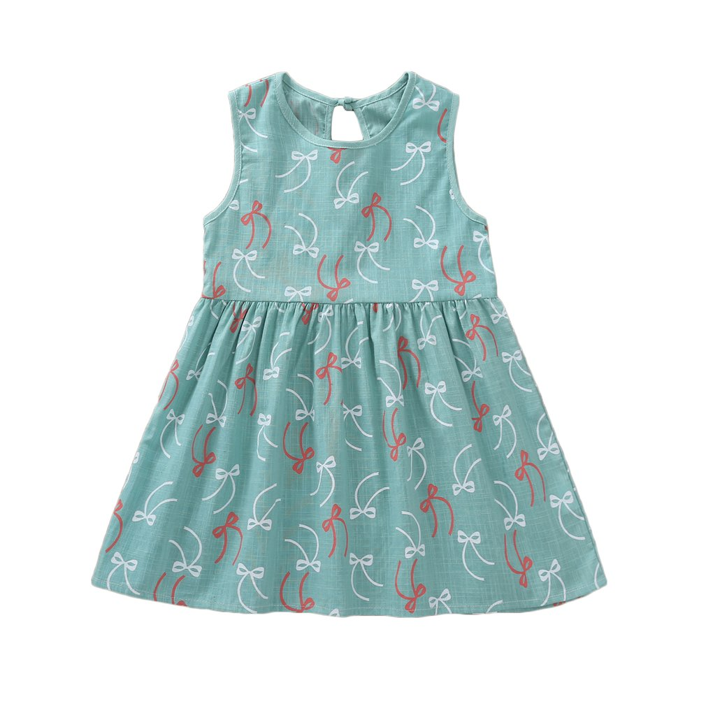 Summer Girls Dress Red White Bowknot Printed O Neck Sleeveless Princess Vestidos Back Hollow Knot A Line Dress Children Clothing