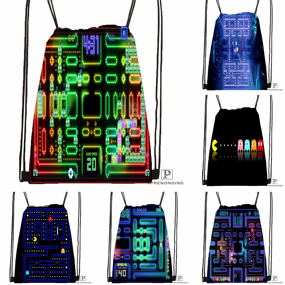 Custom Pacman Championship Drawstring Backpack Bag Cute Daypack Kids Satchel (Black Back) 31x40cm#180531-03-04
