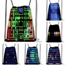 Custom Pacman Championship Drawstring Backpack Bag Cute Daypack Kids Satchel (Black Back) 31x40cm#180531-03-04