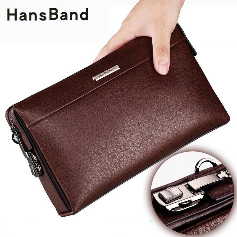 Hansband New Genuine leather Password lock wallet male passport card holder money coin purses Phone cases wrist men clutch bags цена 2017
