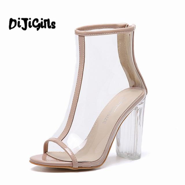 Femmes PVC Clair Talon Transparent Bottes Peep Toe Cheville Bottes chausson  Haut Top Plexiglas Lucite Chaussures