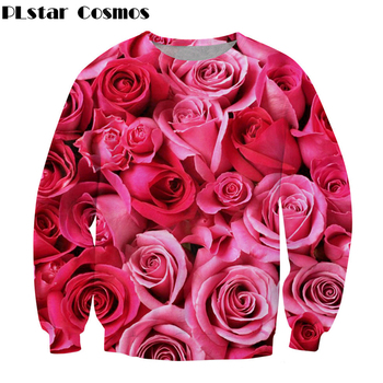 цена на 2018 New fashion Men Women Long sleeve Sweatshirt Red rose flower 3d print O-Neck casual Pullover free shipping Plus size S-5XL