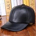 Al aire libre gorras de béisbol gorra de visera otoño e invierno cálido hueso sólido de cuero Genuino sombrero de cuero de los hombres 100% de cuero de vaca