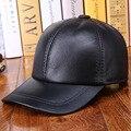 Ao ar livre boné de beisebol da viseira osso gorras outono e inverno de couro Genuíno quente sólida chapéu de couro dos homens 100% couro