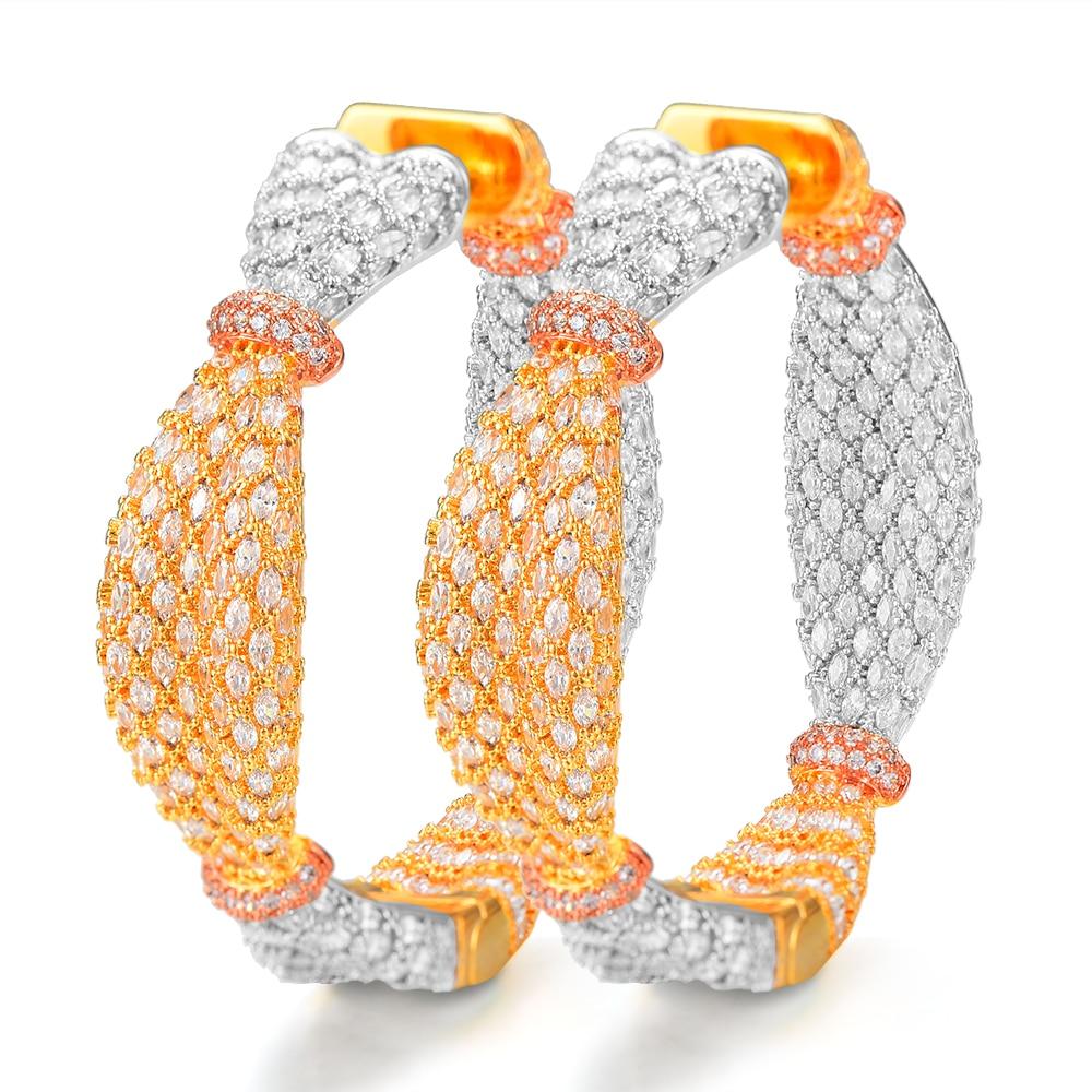 Jimbora oreille bonbons conception de luxe cubique Zircon CZ déclaration cerceau boucle d'oreille pour les femmes de mariage DUBAI mariée cercle boucle d'oreille 2019